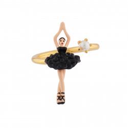 Bagues Ajustables Bague Ajustable Mini Ballerine En Tutu Pavé De Strass Noirs