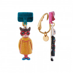 Boucles D'oreilles Boucles D'oreilles Clip Duo De Chats En Robes Vintages Et Sac À Main