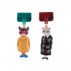 Earrings With Duo Of Cats...