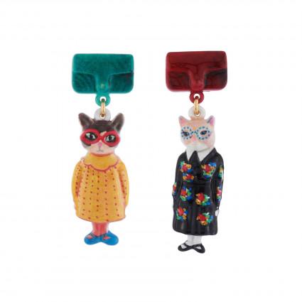 Boucles D'oreilles Boucles D'oreilles Duo De Chats En Robes Vintages Et Sac À Main