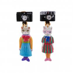 Boucles D'oreilles Boucles D'oreilles Clip Duo De Chats En Robes Vintages Et Appareil Photo