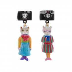 Boucles D'oreilles Boucles D'oreilles Duo De Chats En Robes Vintages Et Appareil Photo