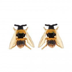 Earrings Bee With Golden Wings