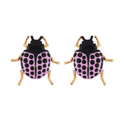 Purple Beetle Earrings