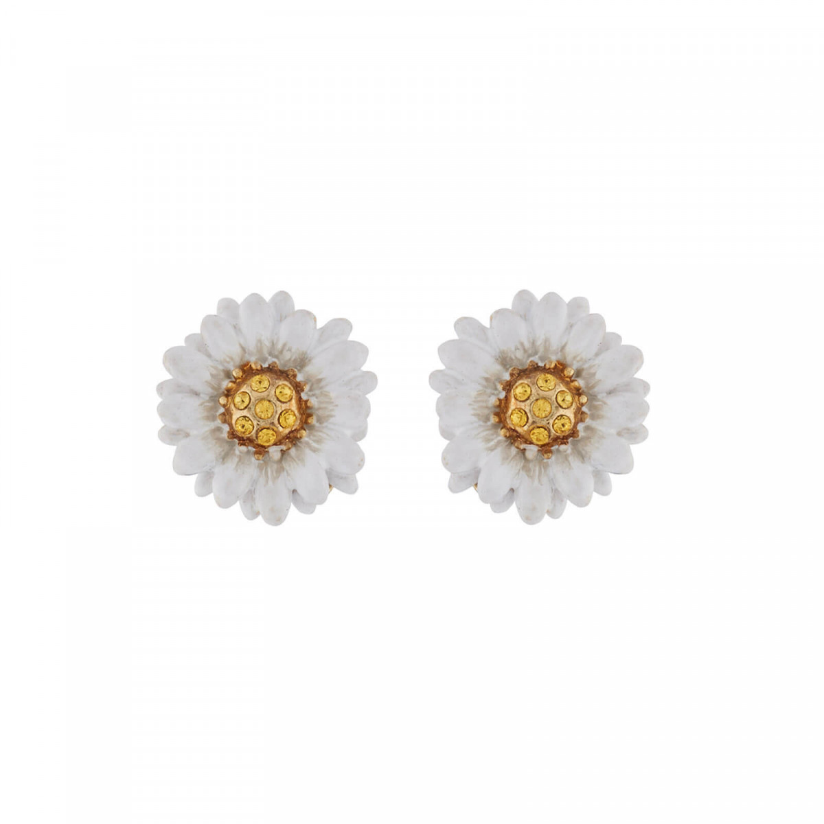 These Daisy Shaped Dormeuses Earrings For Women Are Made In 14 Carat Gold Plated Br And Hand Enameled Respecting Les Néréides Paris Pure Creation