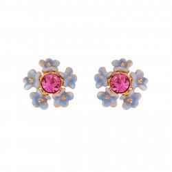 Boucles D'oreilles Tiges Boucles D'oreilles Bouquet De Petites Fleurs Bleues Et Strass