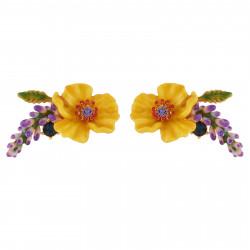 Boucles D'oreilles Tiges Boucles D'oreilles Fleur Jaune, Branche De Fleurs Violettes Et Strass85,00€ AISF102T/1Les Néréides