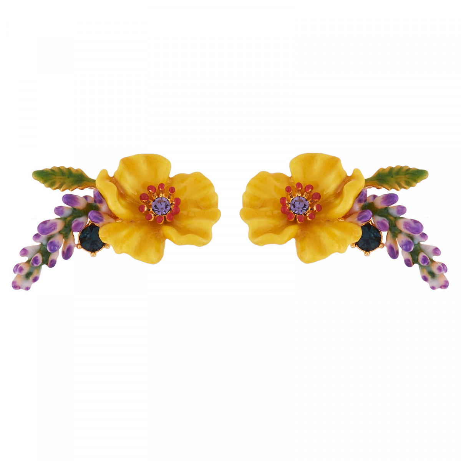 Yellow Flower Bunch Of Purple Flowers And Rhinestones Earringsles