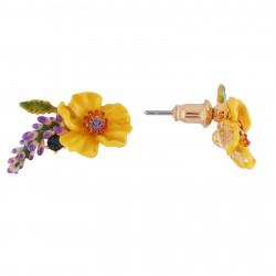 Boucles D'oreilles Tiges Boucles D'oreilles Fleur Jaune, Branche De Fleurs Violettes Et Strass