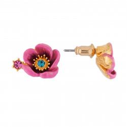 Boucles D'oreilles Tiges Boucles D'oreilles Fleur Rose Au Pistil En Strass