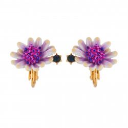 Boucles D'oreilles Clip Boucles D'oreilles Clip Fleur Blanche Au Pistil Rose Et Bleu