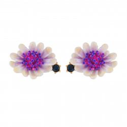 Boucles D'oreilles Tiges Boucles D'oreilles Fleur Blanche Au Pistil Rose Et Bleu