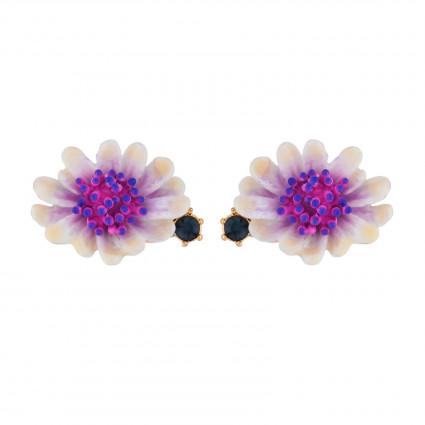 Boucles D'oreilles Tiges Boucles D'oreilles Fleur Blanche Au Pistil Rose Et Bleu85,00€ AISF104T/1Les Néréides