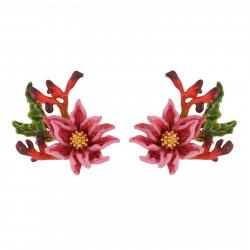 Boucles D'oreilles Tiges Boucles D'oreilles Fleur Rose Au Pistil Doré Et Feuilles110,00€ AISF106T/1Les Néréides