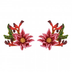 Earrings Pink Flower With...