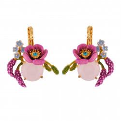 Boucles D'oreilles Dormeuses Boucles D'oreilles Fleur Rose Sur Verre Taillé, Petites Fleurs Et Branches De Lavande120,00€ AI...