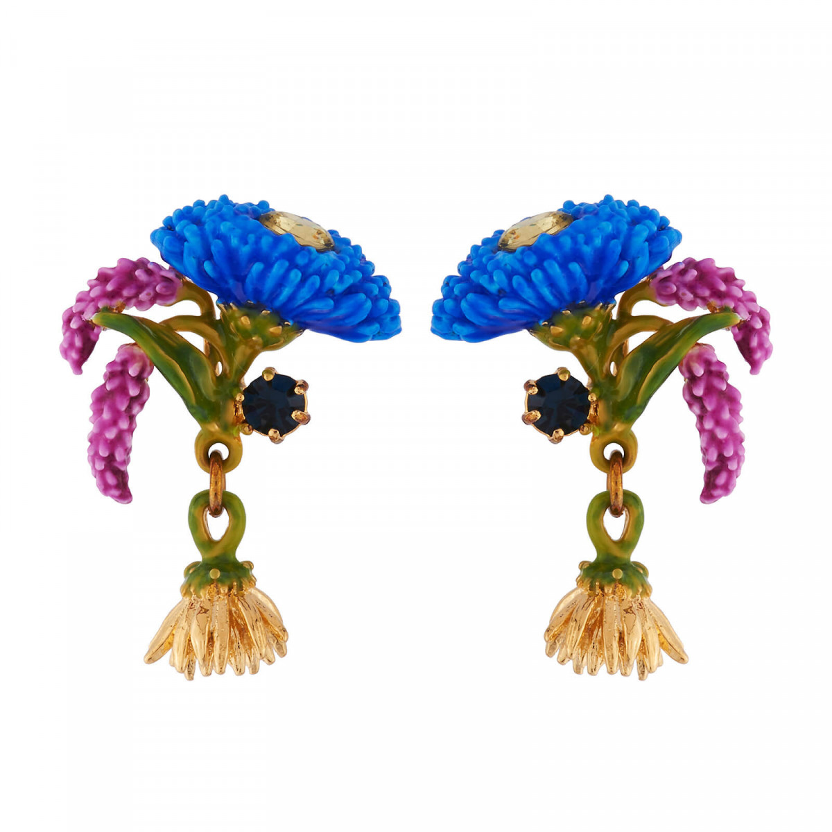 b117edb8847e83 Discover our blue and falling flowers, rhinestone earrings ! These earrings  are made up in a 14kt gold plated, hand enameled brass. This piece of  jewellery ...