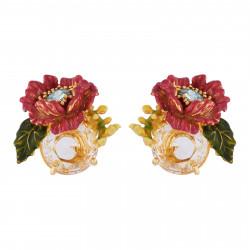 Boucles D'oreilles Clip Boucles D'oreilles Clip Fleur Violette Au Pistil En Strass Sur Verre Taillé115,00€ AISF112C/1Les Nér...