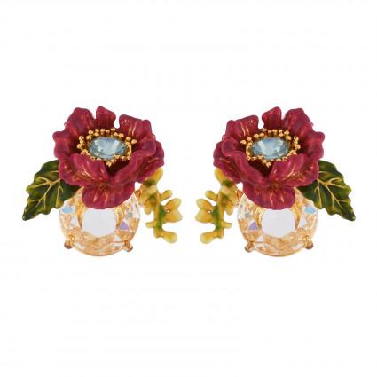 Boucles D'oreilles Tiges Boucles D'oreilles Fleur Violette Au Pistil En Strass Sur Verre Taillé115,00€ AISF112T/1Les Néréides