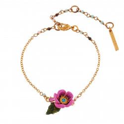 Bracelets Fins Bracelet Fleur Rose Au Pistil En Strass