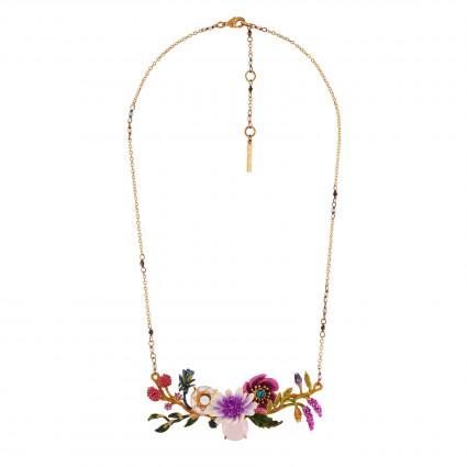 Colliers Plastrons Collier Fleurs Blanches Et Roses Et Verres Taillés Sur Branche Fleurie