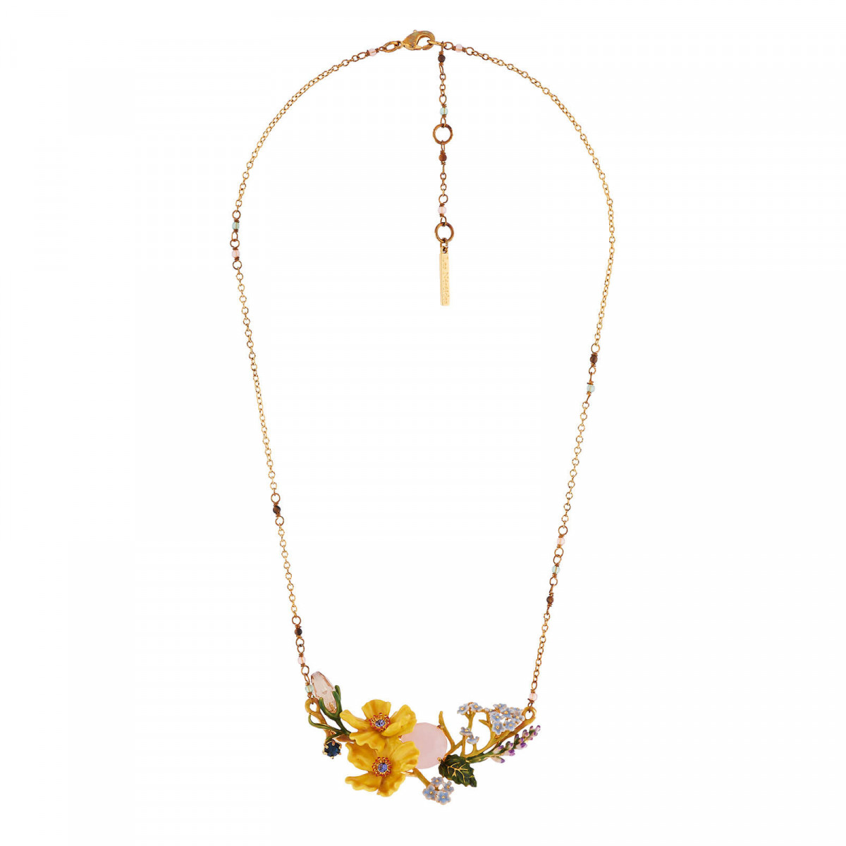 Necklace Yellow Flowers And Faceted Crystals On A Flowering Branch