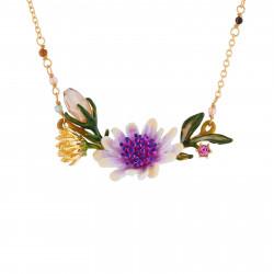 Colliers Fins Collier Fleur Blanche Au Pistil Rose Et Bleu Sur Branche Fleurie180,00€ AISF307/1Les Néréides