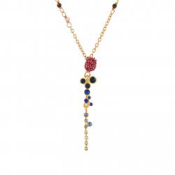 Colliers Pendentifs Collier Fleur Rose Et Noire Et Cascade De Strass