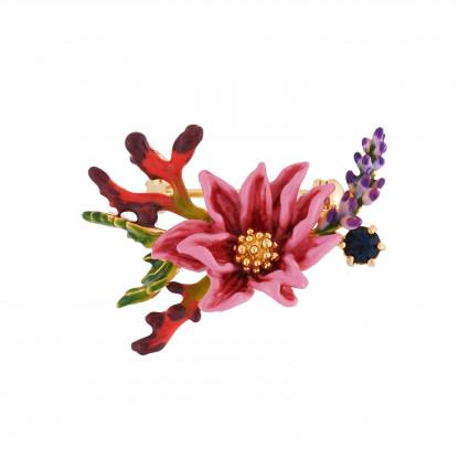 Brooch Pink Flower With Golden Pistil Bunch Of Lavander And