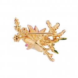 Broches Broche Fleur Rose Au Pistil Doré, Branche De Lavande Et Strass110,00€ AISF501/1Les Néréides