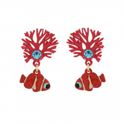 Boucles D'oreilles Boucles D'oreilles Branche De Corail Et Poisson-clown