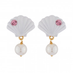 Earrings Shell And White Pearl