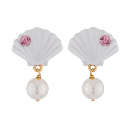 Boucles D'oreilles Boucles D'oreilles Coquillage Et Perle Blanche