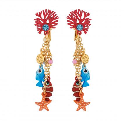 Boucles D'oreilles Boucles D'oreilles Clip Branche De Corail Et Pampilles Poissons, Étoile Et Perles