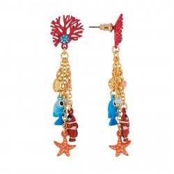 Boucles D'oreilles Boucles D'oreilles Branche De Corail Et Pampilles Poissons, Étoile Et Perles