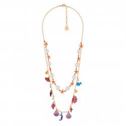 Colliers Collier Double Rangs Perles Et Étoiles De Mer Et Multi Pampilles De Sous L'océan