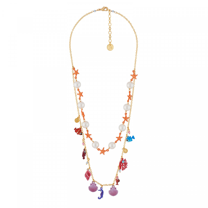 aed01c60908d ¡Descubra nuestro collar doble vueltas perlas y estrellas de mar y  multi-abalorios submarinos! Este collar y sus elementos son de latón y  resina 3D ...