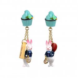 Boucles D'oreilles Boucles D'oreilles Pendantes Cupcake Et Le Lapin Blanc
