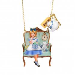 Colliers Collier Alice Et Le Lapin Blanc Sur Leur Fauteuil À L'heure Du Thé