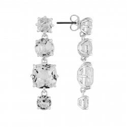 Boucles D'oreilles Pendantes Boucles D'oreilles 4 Pierres Silver Cristal