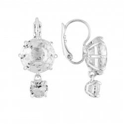 Boucles D'oreilles Dormeuses Dormeuses Double Pierre Ronde Silver Cristal60,00€ AILD126D/3Les Néréides