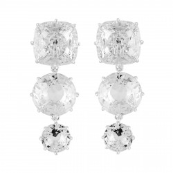 Boucles D'oreilles Clip Boucles D'oreilles Clips 3 Pierres Silver Cristal
