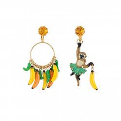 Boucles D'oreilles Boucles D'oreilles Clip Asymétiques Bruno De Chimpanzé Et Son Régime De Bananes