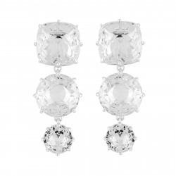 Boucles D'oreilles Pendantes Boucles D'oreilles 3 Pierres Silver Cristal