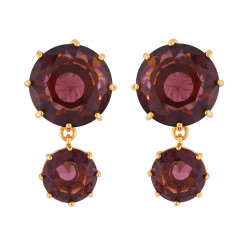 2 Plum Round Stones Earrings