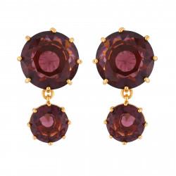 2 Plum Round Stones Earrings