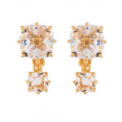 Boucles D'oreilles Clip Boucles D'oreilles Clip 2 Pierres Carrées La Diamantine Cristal60,00€ AILD138C/2Les Néréides