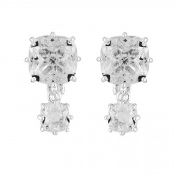 Boucles D'oreilles Clip Boucles D'oreilles Clips Double Pierre Carrée Silver Cristal60,00€ AILD138C/3Les Néréides