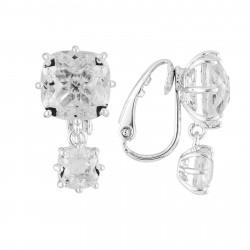 Boucles D'oreilles Clip Boucles D'oreilles Clips Double Pierre Carrée Silver Cristal