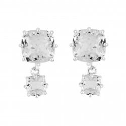 Boucles D'oreilles Pendantes Boucles D'oreilles Double Pierre Carrée Silver Cristal60,00€ AILD138T/3Les Néréides